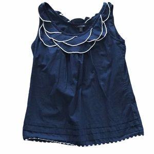 Tommy Hilfiger navy ruffle collar shirt S